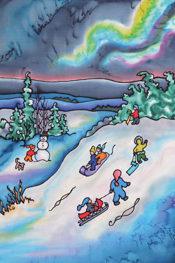 "Winter Fun - Tobogganing Print | 11""x14"""