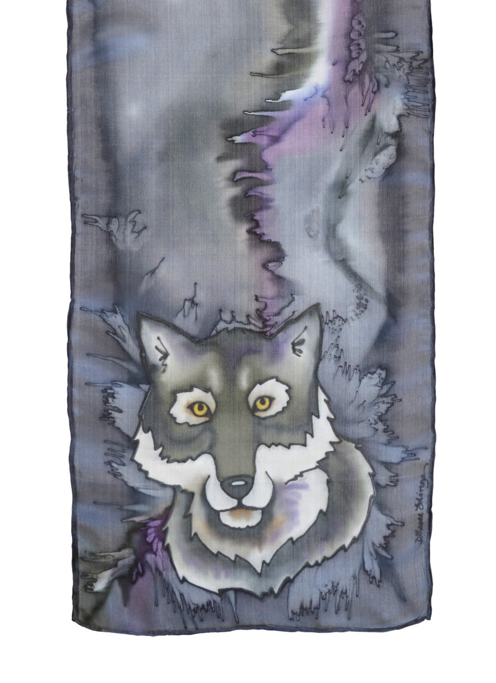Silk scarf with wolf design in denim blue