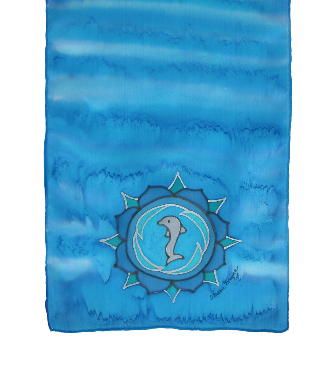 Hand-painted silk scarf blue colour energy throat chakra