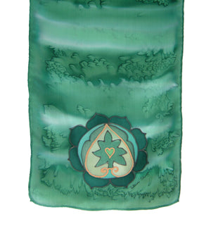 Hand-painted silk scarf green colour energy heart chakra