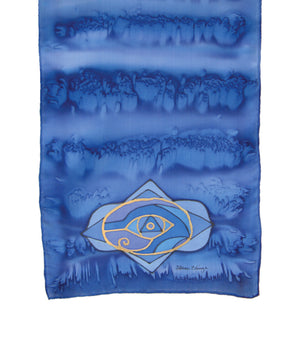 Hand-painted silk scarf indigo colour energy brow chakra