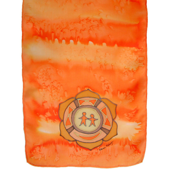 Hand-painted silk scarf orange colour energy spleen chakra