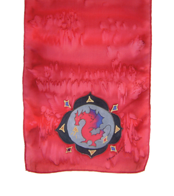 Hand-painted silk scarf red colour energy root chakra