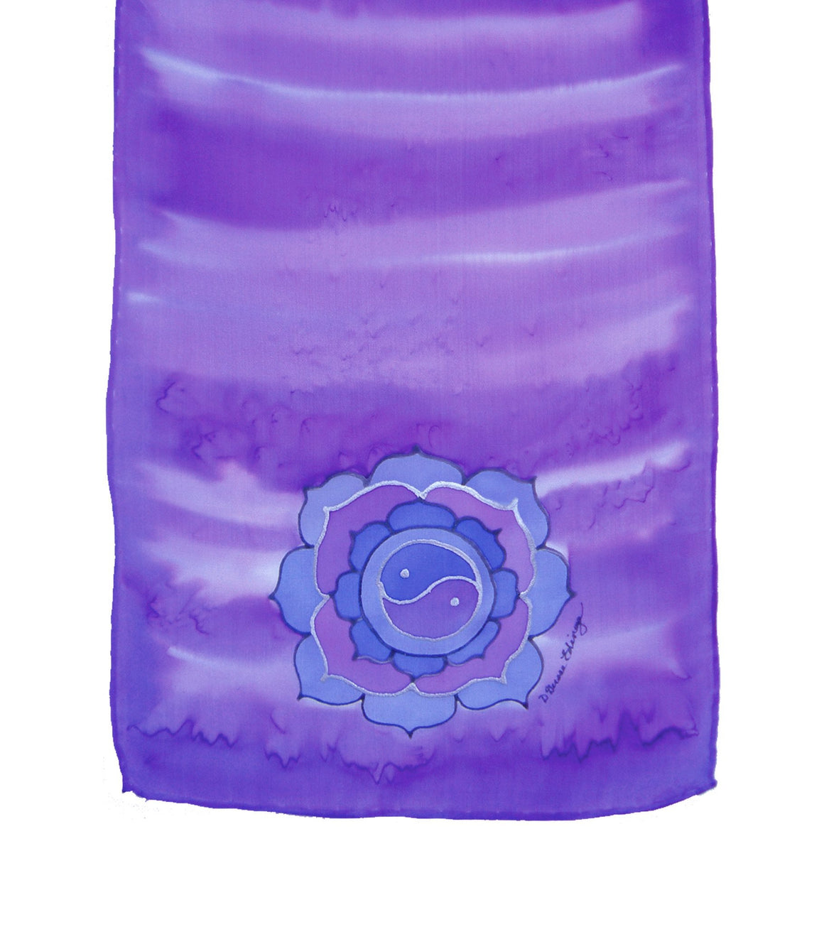 Hand-painted silk scarf purple colour energy crown chakra