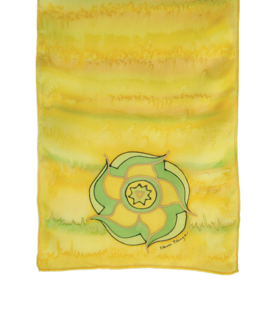 Hand-painted silk scarf yellow colour energy solar plexus chakra