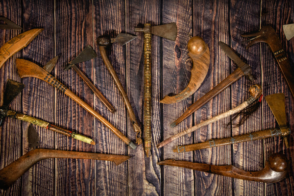 Native American Pipe Tomahawk and War club Weapons