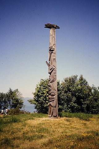 Large Native American Totem Pole Outside