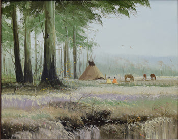Fine Art  oil paintings, paintings-native, teepee paintings, thomas dedecker  Spring Camp by Tomas deDecker