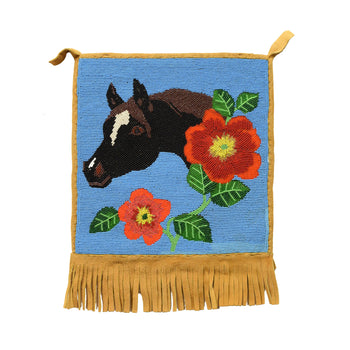 American Indian  beadwork, flatbags, nez perce  Stallion with Flowers
