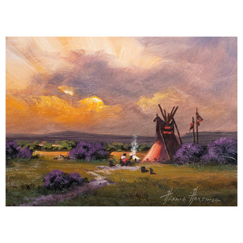 Fine Art  fine art: painting: native american, heine hartwig, oil, paintings, paintings-native american, teepees  Comanche Camp by Heinie Hartwig