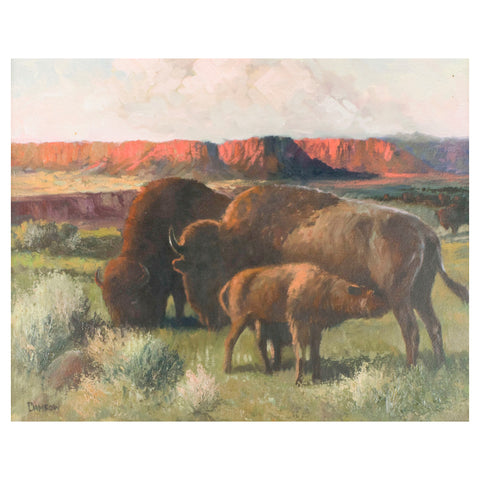 """Buffalo Family"" by Charles Damrow damrow, oil painting, paintings-wildlife"