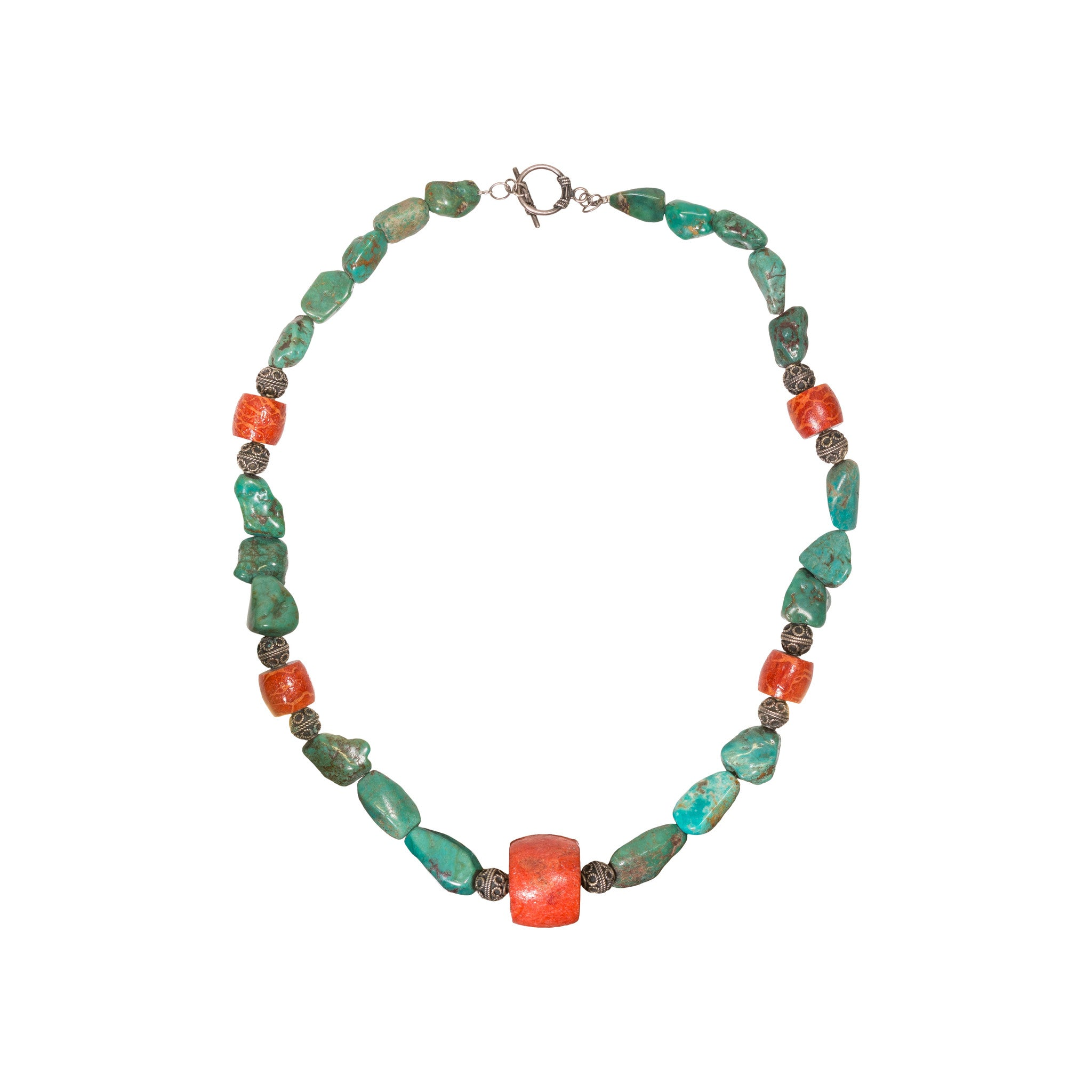 Navajo Turquoise and Coral Nugget Necklace coral, necklaces, turquoise, womens