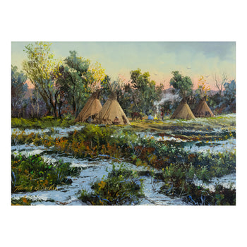 Fine Art  new item, oil paintings, paintings - native, thomas dedecker  Late Spring Encampment by Thomas deDecker