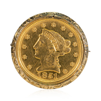 Jewelry  $2.50 gold coin, brooches, coins, gold, jewelry, jewelry: broach: estate, new item  Gold Coin Brooch