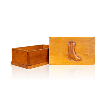 Lodge Furnishings  boots, boxes, carvings, lodge furnishings: décor: other, new item  Cowboy Dresser Box
