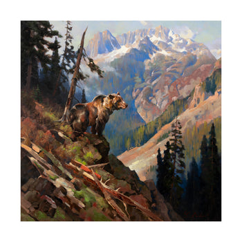 Fine Art  greg parker, grizzly bears, oil paintings, paintings - wildlife  His Domain by Greg Parker