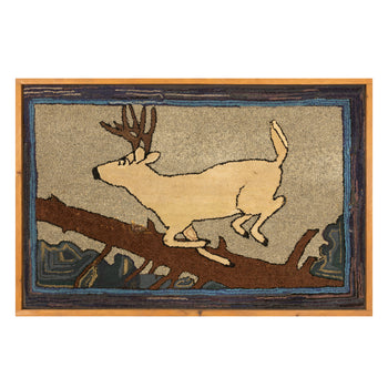 Lodge Furnishings  adirondack, bucks, deers, folk items, new item, rugs, whitetail  U. P. Hooked Rug with Running Whitetail Buck
