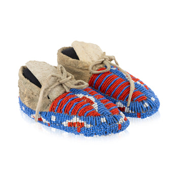 American Indian  assiniboine, beadwork, child's, moccasins, new item  Assiniboine Child's Moccasins