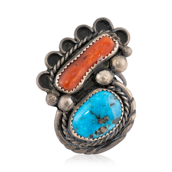 Jewelry  coral, kingman, navajo, new item, rings, sterling, turquoise  Navajo Turquoise and Coral Ring