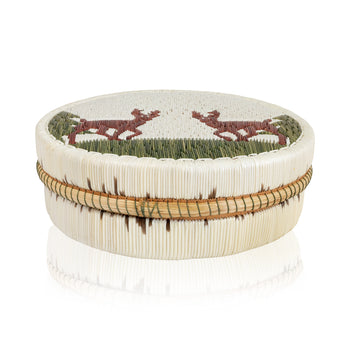 American Indian  birch bark boxes, chippewa, new item, quills  Quilled Birch Bark Box