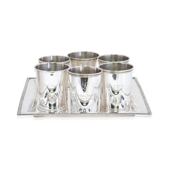 Lodge Furnishings  barware, drinking, mint julep cups, new item, sterling  Sterling Mint Julep Cups and Tray