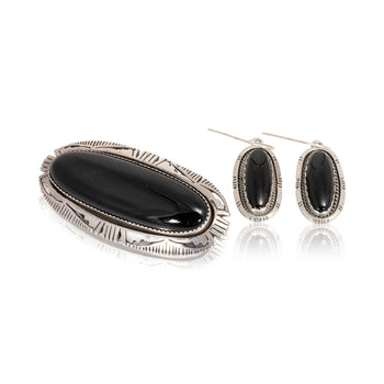Jewelry  brooches, earrings, navajo, onyx, pendants, pins, sale item, sterling  Onyx Earrings and Pendant