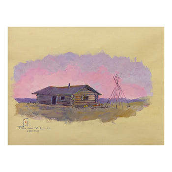 Fine Art  ace powell, paintings, paintings - western, sketches  Cabin and Teepee Poles by Ace Powell