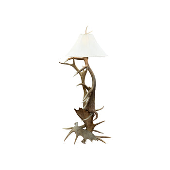 Lodge Furnishings  antler furniture, elk, floor lamps, horn furniture, lighting, moose, new item  Roosevelt Elk and Moose Antler Floor Lamp