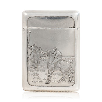 Cowboy and Western  match safes, new item, silver, sterling, tobacciana  Sterling Sporting Match Safe