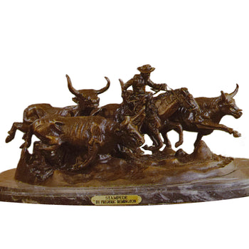Fine Art  decorative bronzes, frederic remington  Stampede by Fredric Remington