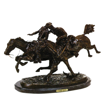 Fine Art  decorative bronzes, frederic remington  Wounded Bunkie by Frederic Remington