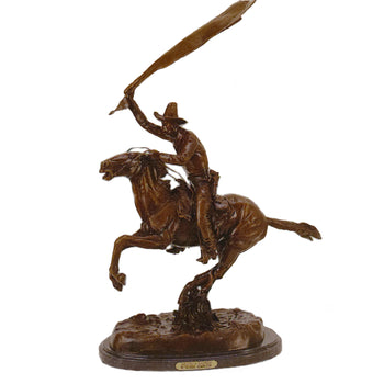 Fine Art  decorative bronzes, frederic remington  Bronco Saddle by Frederic Remington