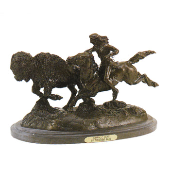 Fine Art  decorative bronzes, frederic remington  Buffalo Hunt by Frederic Remington
