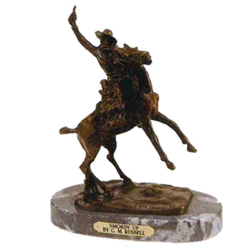Fine Art  charles russell, decorative bronzes  Smokin' Up by Charles Russell
