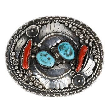 Jewelry  belt buckle, coral, mens, navajo, turquoise  Exceptional Silver Work