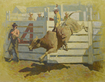 Fine Art  oil painting, ron crooks, western  Bustin' Out by Ron Crooks