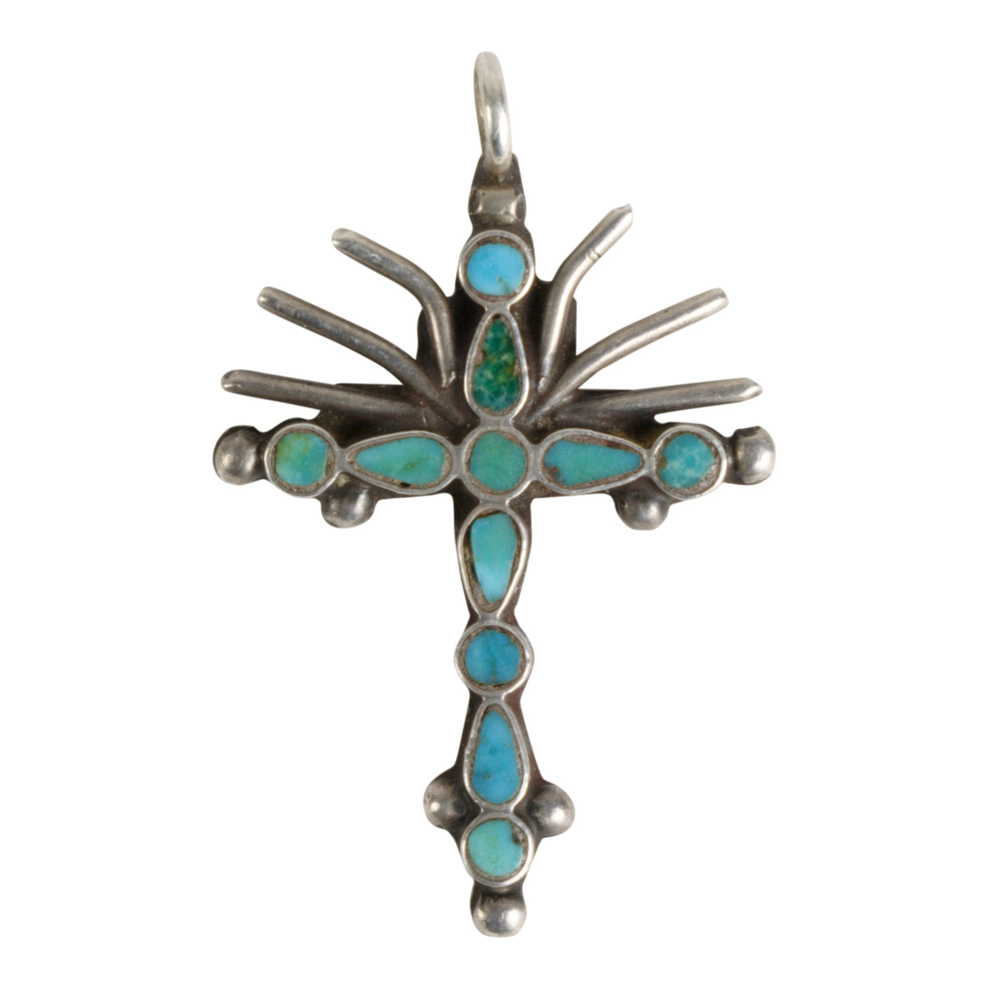 Miniature Zuni Cross Pendant cross pendants, crosses, necklaces, pendants, turquoise, zuni