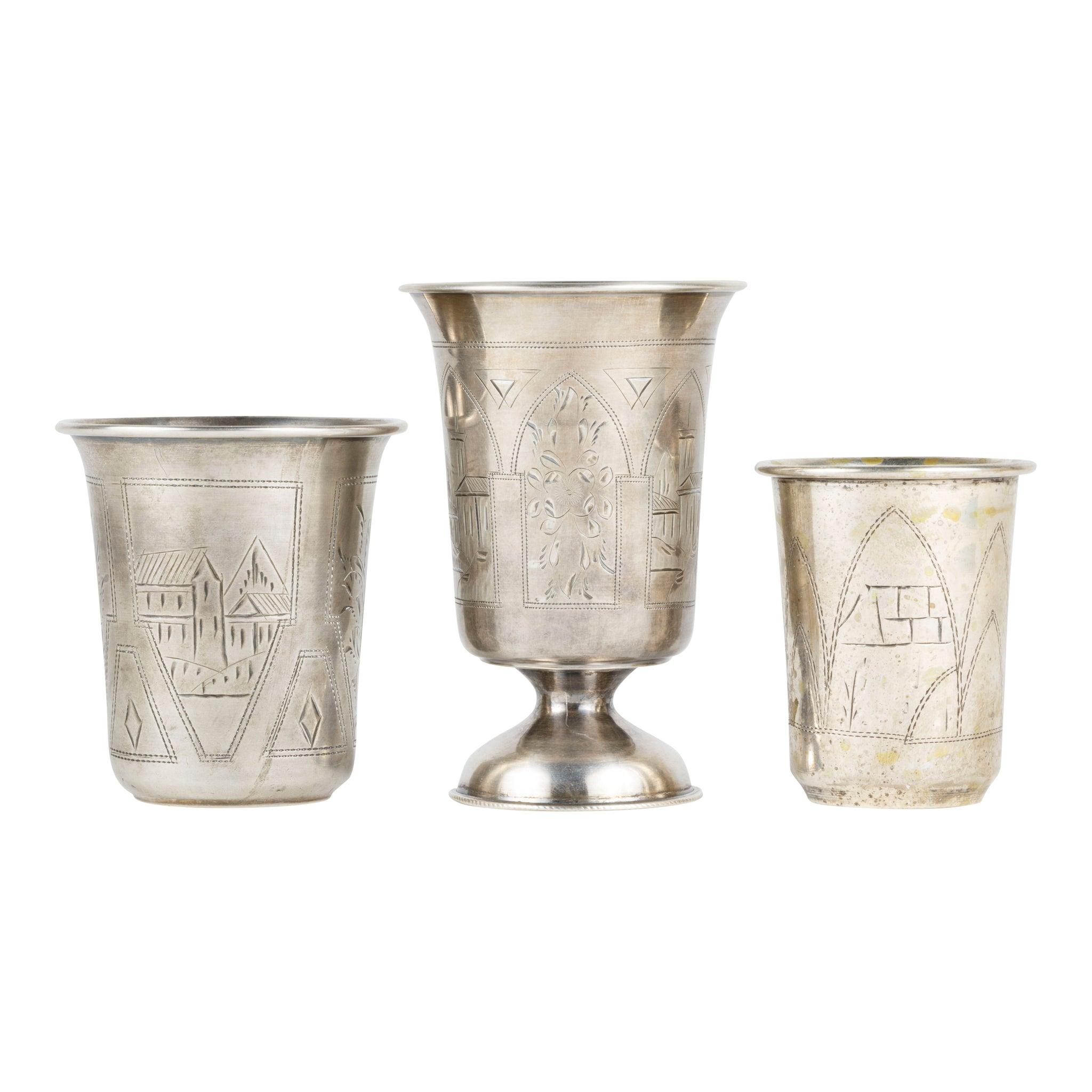 Collection of Sterling Tumblers barware, drinking, lodge furnishings: drinking: liquor related, shot glasses, sterling, tumblers