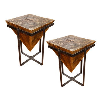 Lodge Furnishings  mountain modern, sam's pick, tables  Pyramid Side Tables