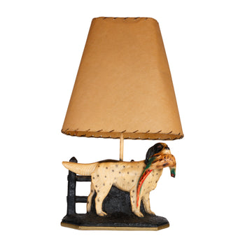 Lodge Furnishings  lamps, lighting, plasterware, roosters, setters  Setter with a Rooster