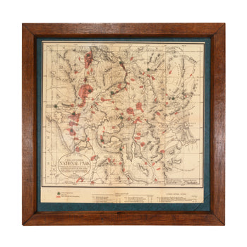 Lodge Furnishings  maps, sam's pick, yellowstone  1881 Map of Yellowstone National Park