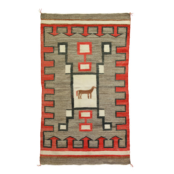 American Indian  4' to 6', horses-native american, navajo, pictorials, sam's pick, weavings  Horse Pictorial Weaving