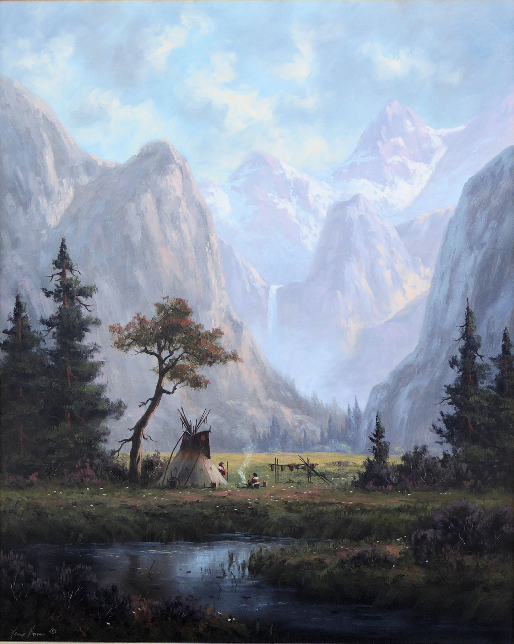 Camp in the Meadow by Heinie Hartwig fine art: painting: native american, heinie hartwig, native, oil paintings, teepee paintings