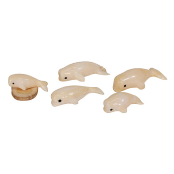American Indian  carvings, ivory, miniatures, whales  Miniature Ivory Whales
