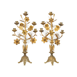 Pair of French Brass Alter Candleabras