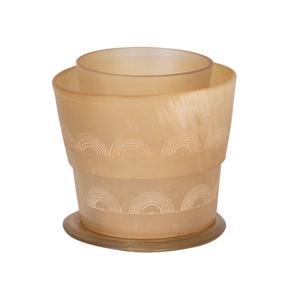 Etched Horn Drinking Cup