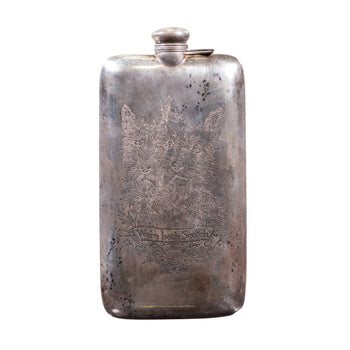 Cowboy and Western  drinking, flasks, silver  Antique Sterling Silver Flask