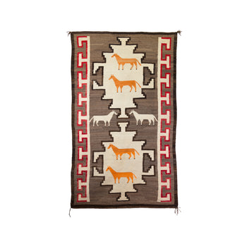 American Indian  6' to 8', horses, navajo, new item, pictorials, sam's pick, weavings  Navajo Horse Pictorial