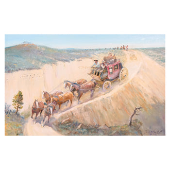 Fine Art  carkhuff, oil, paintings, paintings-western, stagecoach