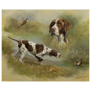 Fine Art  d. suce, german shorthair pointers, lithographs, oil paintings, paintings, pheasants  Hunting Dogs by D. Suce